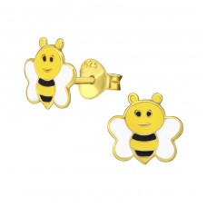 Bee - 925 Sterling Silver Colorful ear studs for kids A4S38170