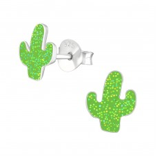 Cactus - 925 Sterling Silver Colorful ear studs for kids A4S38171
