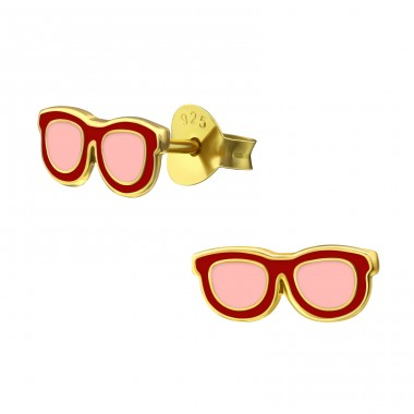 Glasses - 925 Sterling Silver Colorful ear studs for kids A4S38204