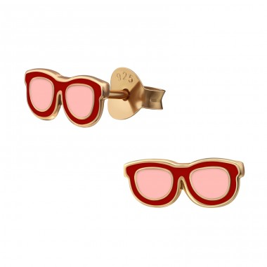 Glasses - 925 Sterling Silver Colorful ear studs for kids A4S38205