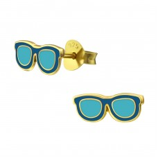 Glasses - 925 Sterling Silver Colorful ear studs for kids A4S38206