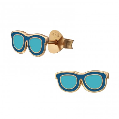 Glasses - 925 Sterling Silver Colorful ear studs for kids A4S38207