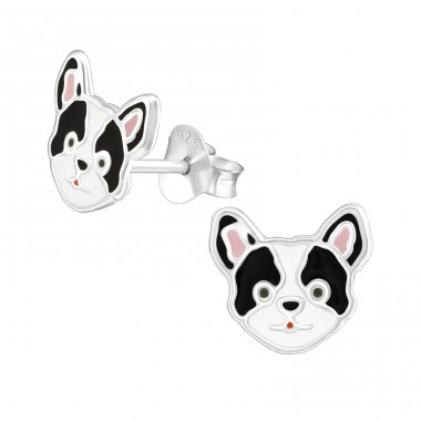 Dog - 925 Sterling Silver Ear studs with enamel colors A4S38234
