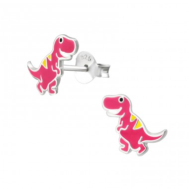 Dinosaur - 925 Sterling Silver Ear studs with enamel colors A4S38259