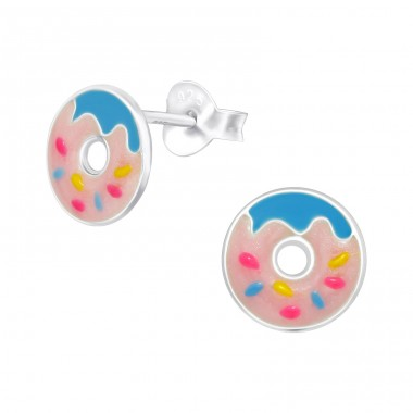 Doughnut - 925 Sterling Silver Ear studs with enamel colors A4S38261