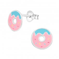 Doughnut - 925 Sterling Silver Colorful ear studs for kids A4S38261