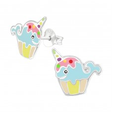 Whalecorn - 925 Sterling Silver Colorful earrings for kids A4S38263
