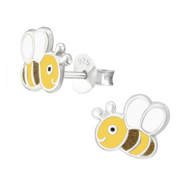 Bee - 925 Sterling Silver Colorful ear studs for kids A4S38265
