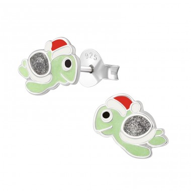 Turtle - 925 Sterling Silver Ear studs with enamel colors A4S38266