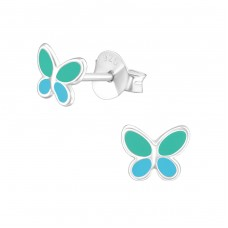 Butterfly - 925 Sterling Silver Colorful ear studs for kids A4S38284