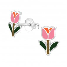 Tulip - 925 Sterling Silver Colorful ear studs for kids A4S38287