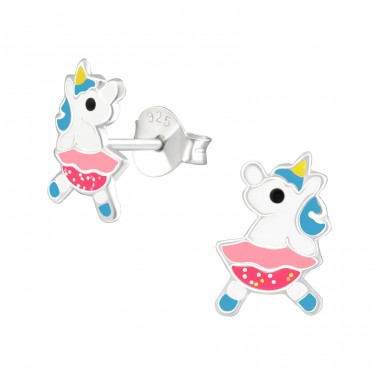 Unicorn - 925 Sterling Silver Colorful ear studs for kids A4S38288