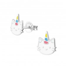 Caticorn - 925 Sterling Silver Colorful earrings for kids A4S38291