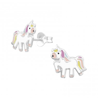 Unicorn - 925 Sterling Silver Colorful ear studs for kids A4S38293