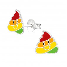 Poo Emoji - 925 Sterling Silver Colorful ear studs for kids A4S38384