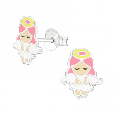 Angel - 925 Sterling Silver Ear studs with enamel colors A4S38385