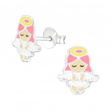 Angel - 925 Sterling Silver Colorful ear studs for kids A4S38385