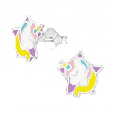 Unicorn - 925 Sterling Silver Colorful ear studs for kids A4S38386