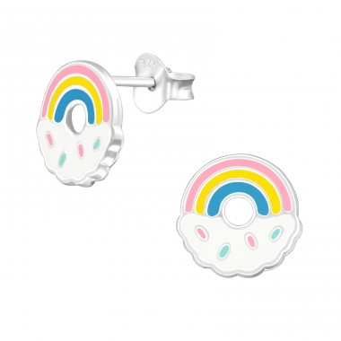 Rainbow - 925 Sterling Silver Colorful ear studs for kids A4S38387