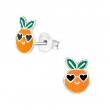 Orange - 925 Sterling Silver Colorful ear studs for kids A4S38388