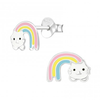 Rainbow Cat - 925 Sterling Silver Ear studs with enamel colors A4S38389
