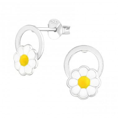 Flower - 925 Sterling Silver Colorful ear studs for kids A4S38468