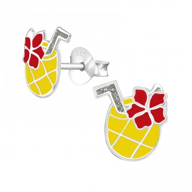 Pineapple Juice - 925 Sterling Silver Colorful ear studs for kids A4S38473
