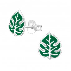 Leaf - 925 Sterling Silver Colorful earrings for kids A4S38496