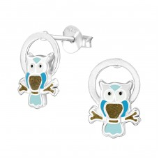 Owl - 925 Sterling Silver Colorful ear studs for kids A4S38497