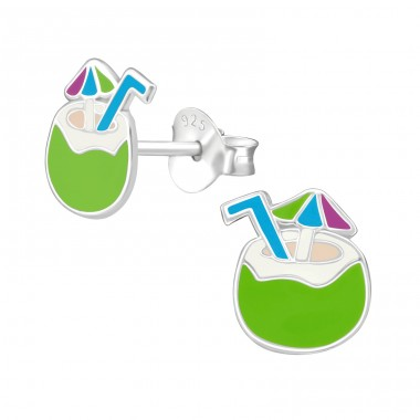 Coconut Water - 925 Sterling Silver Ear studs with enamel colors A4S38502