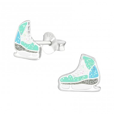 Ice Skating Shoes - 925 Sterling Silver Colorful ear studs for kids A4S38576