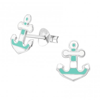 Anchor - 925 Sterling Silver Ear studs with enamel colors A4S38579