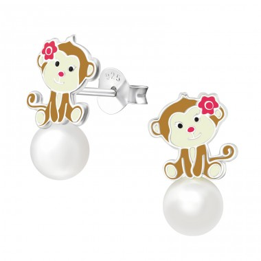 Monkey - 925 Sterling Silver Colorful ear studs for kids A4S38580