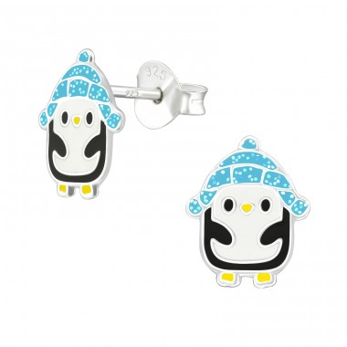 Penguin - 925 Sterling Silver Ear studs with enamel colors A4S38603