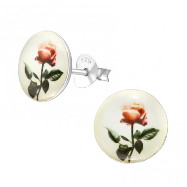 Rose - 925 Sterling Silver Ear studs with enamel colors A4S38624