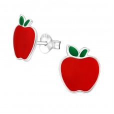 Apple - 925 Sterling Silver Colorful ear studs for kids A4S38625