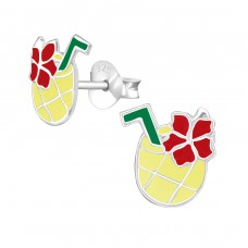 Pineapple Juice - 925 Sterling Silver Colorful ear studs for kids A4S38626