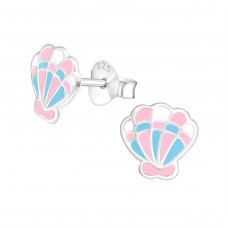 Shell - 925 Sterling Silver Colorful ear studs for kids A4S38639
