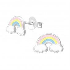 Rainbow - 925 Sterling Silver Colorful ear studs for kids A4S38664