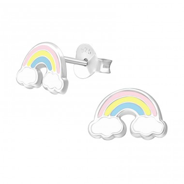 Rainbow - 925 Sterling Silver Ear studs with enamel colors A4S38664