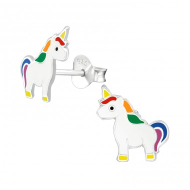 Unicorn - 925 Sterling Silver Colorful ear studs for kids A4S38665