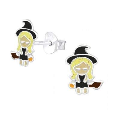 Witch - 925 Sterling Silver Ear studs with enamel colors A4S38666
