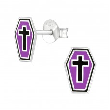 Coffin - 925 Sterling Silver Colorful ear studs for kids A4S38667