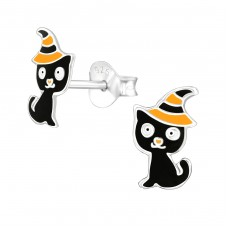 Cat - 925 Sterling Silver Colorful ear studs for kids A4S38668