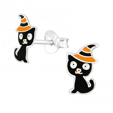 Cat - 925 Sterling Silver Ear studs with enamel colors A4S38668