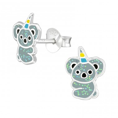 Koalacorn - 925 Sterling Silver Ear studs with enamel colors A4S38669