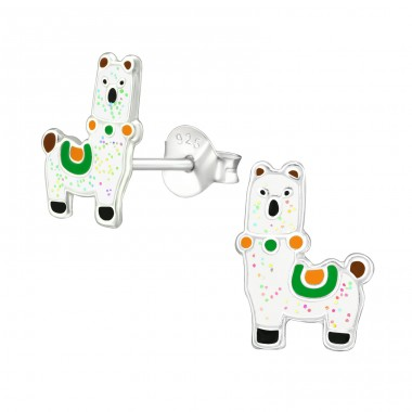 Alpaca - 925 Sterling Silver Colorful ear studs for kids A4S38670