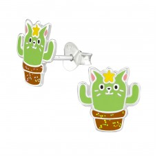 Cactus Cat - 925 Sterling Silver Colorful ear studs for kids A4S38671