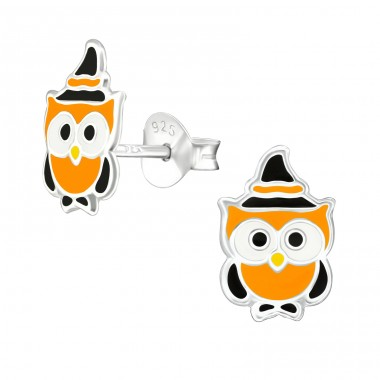 Owl - 925 Sterling Silver Ear studs with enamel colors A4S38672