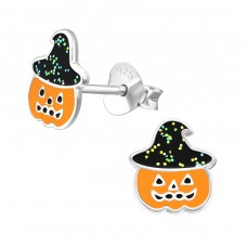 Pumpkin - 925 Sterling Silver Colorful ear studs for kids A4S38692